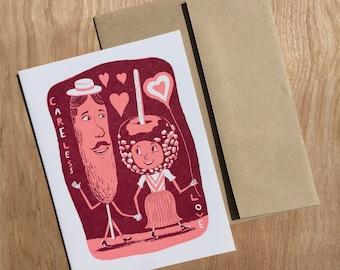 1 CARELESS LOVE CARNIVAL Greeting Cards, Letterpress, Framable Art, Hand Printed Letterpress Print corndog candy apple love sweet pink red
