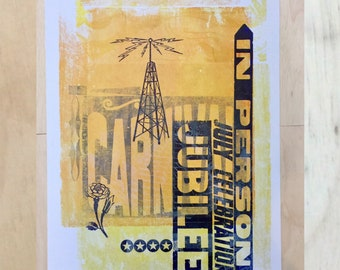 JUBILEE Music POSTER Letterpress MONOPRINT, One of a Kind musical in person records radio tower, yellow overprinted press sheet, rose flower