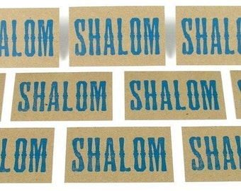 Blue SHALOM Mini Hand Printed Letterpress Cards - 20 pack PEACE