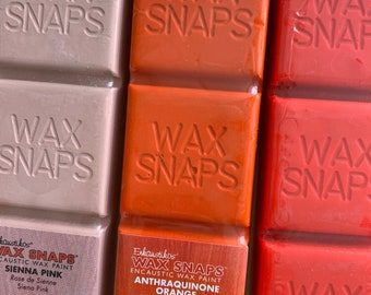 ENCAUSTIC WAX PAINT 3 pack - Enkaustikos brand Wax Snaps Pink, Orange, Florescent beeswax paint supplies for encaustic painting