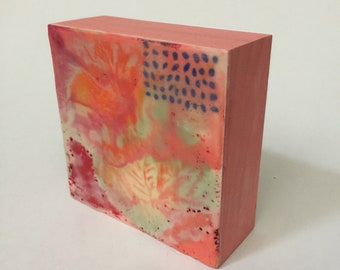 """ENCAUSTIC PAINTING 4""""x4"""" floral mixed media on wood with beeswax by Julie Belcher, abstract landscape, bright colors, small gift, textured"""