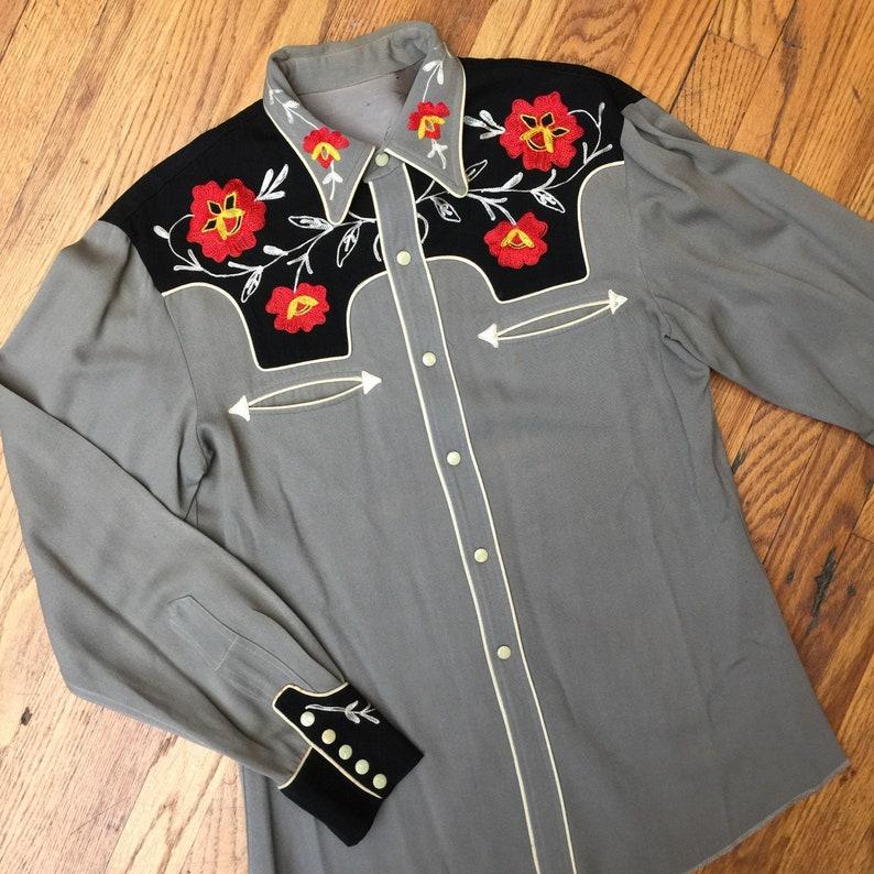 b689cc8a3 1950s VINTAGE Miller WESTERN SHIRT, red flower embroidered chain stitch,  wool gabardine, vintage western wear, honky tonk stagewear, gift