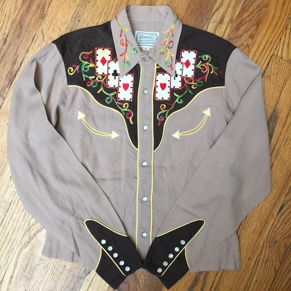 Western  Cowboy  Rockabilly  Rodeo  Vintage Style Mens Nashville Embroidered Shirt by H Bar C  HBarC