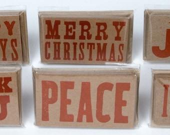 60 Mini Hand Printed Letterpress Gift Tags