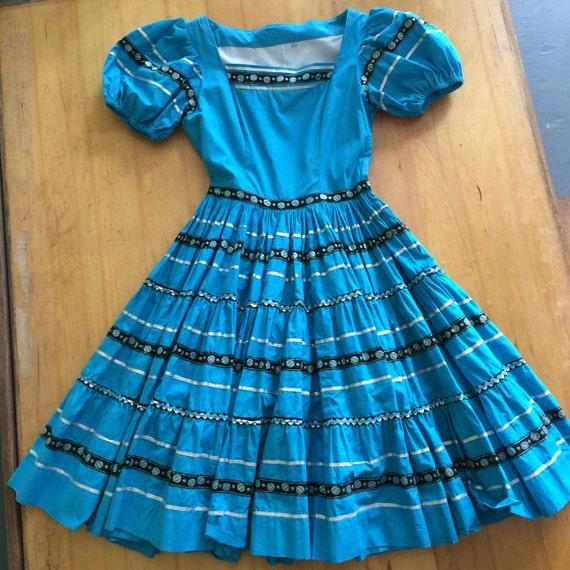 1950s PATIO DRESS, Turquoise cotton square dance d