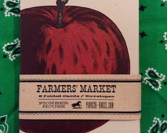 APPLE GREETING CARDS, Farmers Market, Letterpress Cards, Apple notes, fruit cards, gifts for gardeners, stocking stuffers, thank you notes