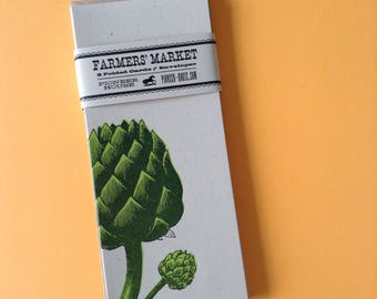 ARTICHOKE GREETING CARDS Farmers Market Letterpress Card Pack of 8 gifts for gardeners