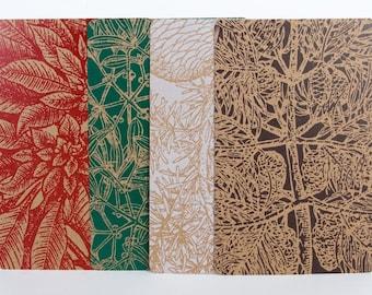 Oversized Christmas Cards HOLIDAY PLANTS, 4 Letterpress prints & Envelopes pine cone,  poinsettia, mistletoe, spruce Pine tree Hand Printed