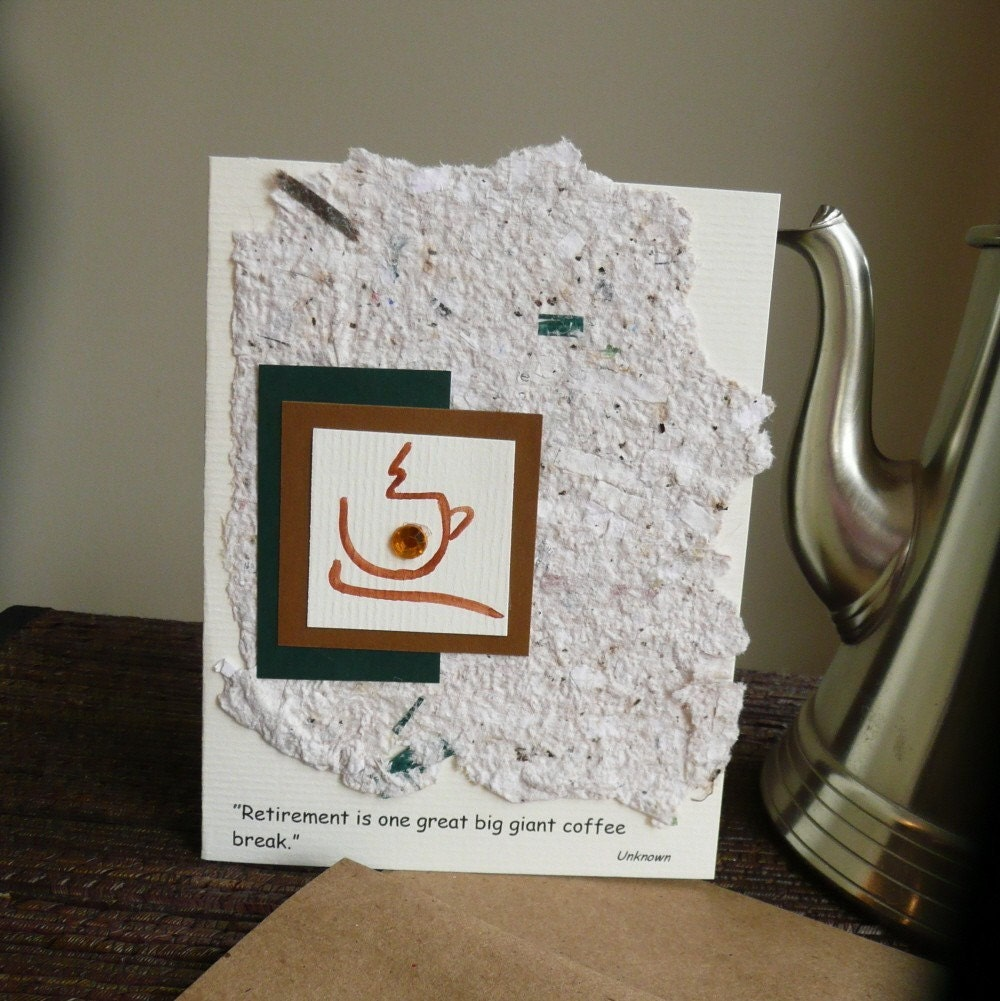 Handmade Retirement Greeting Card With Coffee Cup And Handmade