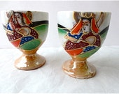 Satsuma Style Egg Cup Pair - Hand Painted Saki Cups - Made in Japan Mepoco Ware Moriage - Porcelain - Japanese - Vintage Lusterware