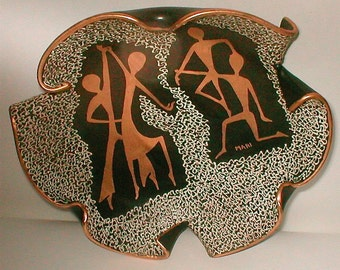 Mid Century Console Bowl  Signed Mari - HJB  Vintage Deruta 1950's -  Italian Modernist Ceramic Sensation