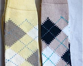Summer Argyle Socks Brooks Brothers Vintage 1980s Mens Sportswear Menswear Sport Socks Fits Sizes 10 - 13