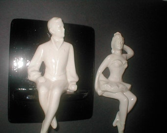 Dancer Duo -  Ceramic Hangings - Vintage 40s Kitsch Decor - Black and White Wall Art