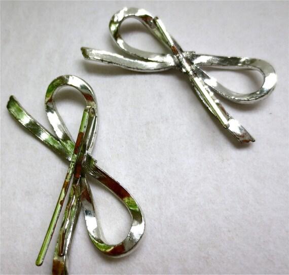 2 Silver Bows Hair Pins - Vintage 1980s  - Holdba… - image 2