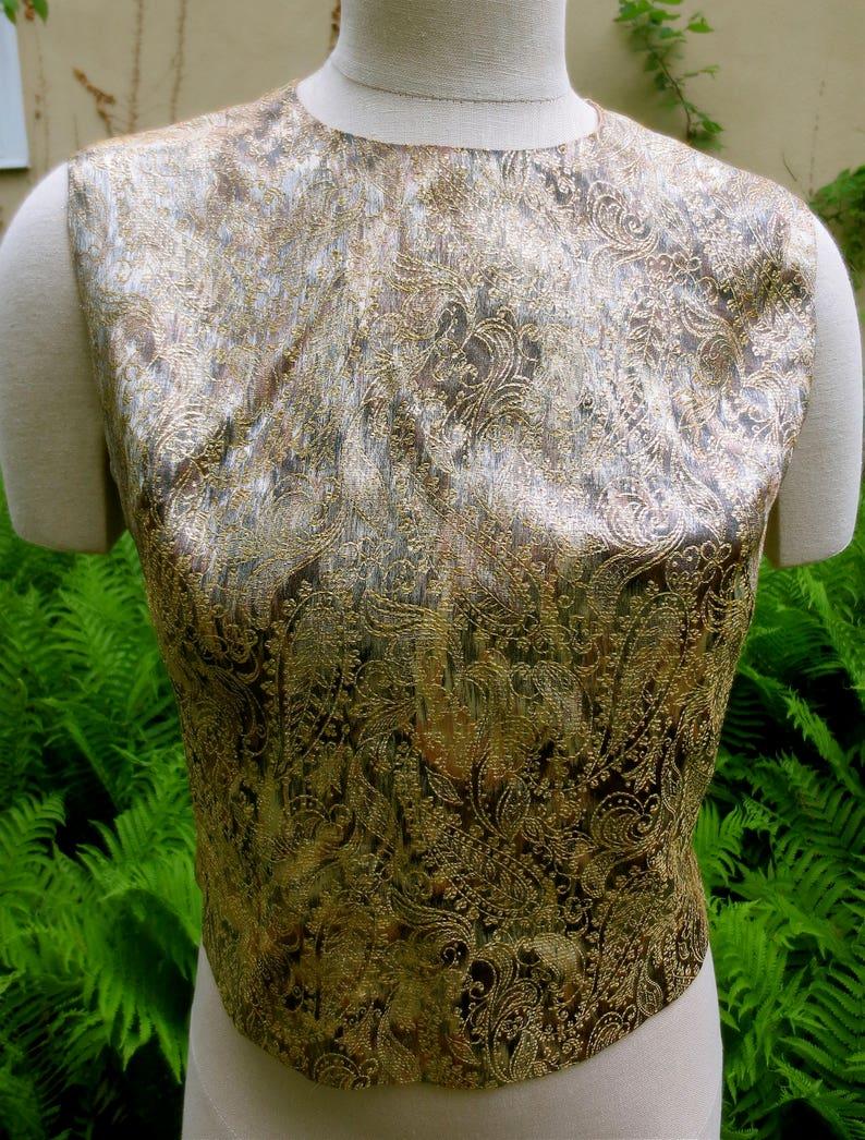 Brocade Sleeveless Top Vintage 1950/'s  Malbe Original Size 8