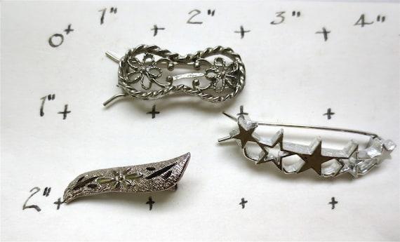 3 Silver Barrettes Hair Pins - Vintage 1980s  - Ho