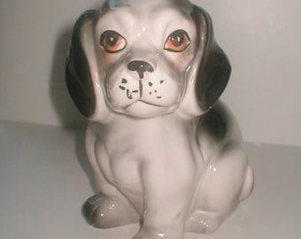 Vintage Ceramic Puppy  - Japan  60s Black and White Hound Dog - Nursey Decor Sad Eye Puppy Dog Cat and Dog Animal Figurine