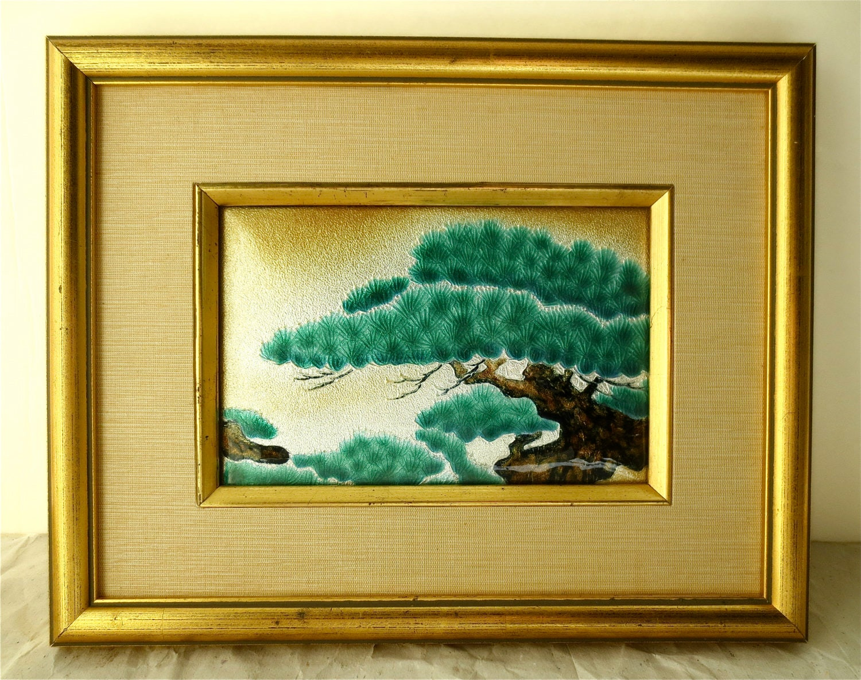 Black Pine Tree Enameled Plaque Framed Guilloche Wall Art | Etsy