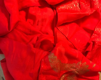 Handmade Vintage Kimono Hemp Good Fortune Yellow Crane Pattern on Red Fabric With Silk Lining