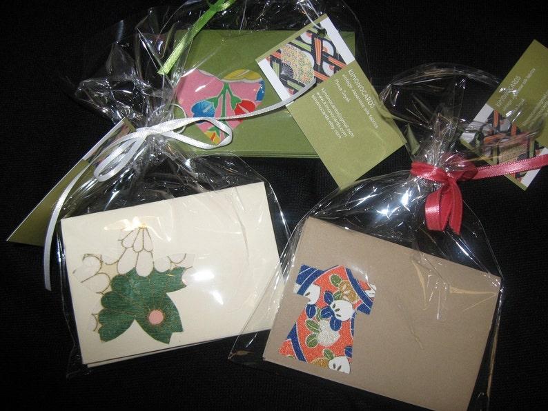 set of 10 Handmade  kimono silk note cards with envelopes