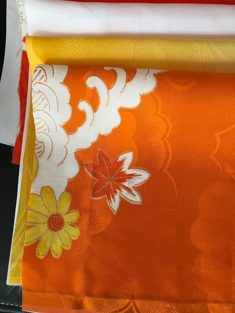Japanese vintage silk kimono fabric 17  panels from 7 to 15 each  sewing supplies dolls/' clothing hat/'s design craft quilting dressmaking