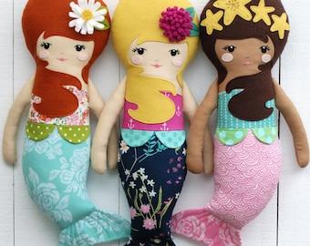 Mermaid Doll PDF Sewing Pattern - Girl Doll - Fabric Doll