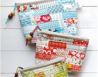 PDF Scrappy Zipper Pouch Sewing Pattern in 3 sizes