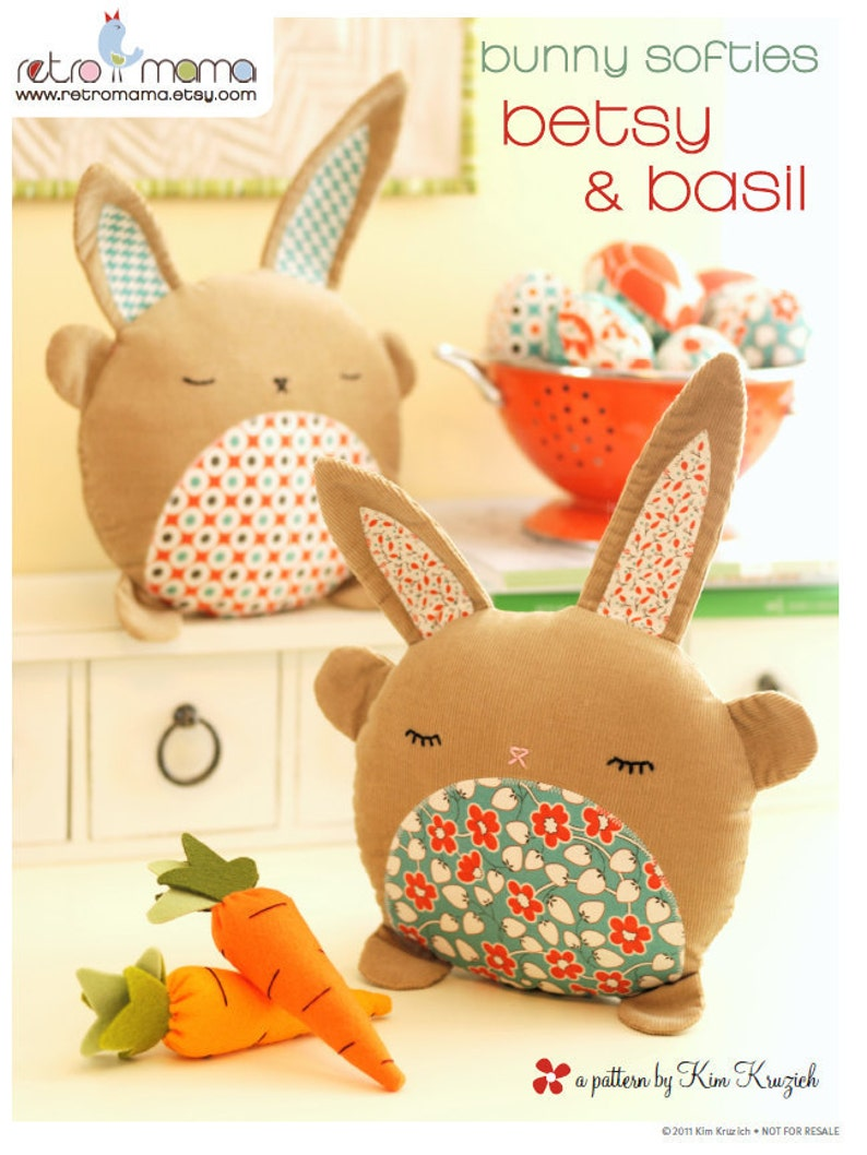 PDF Sewing Pattern Betsy & Basil Bunny Softies Instant image 0