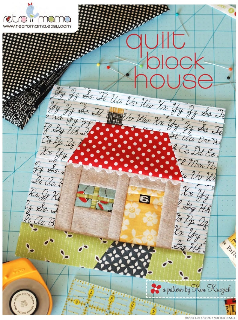 Quilt Block House Patchwork PDF Sewing Pattern image 0