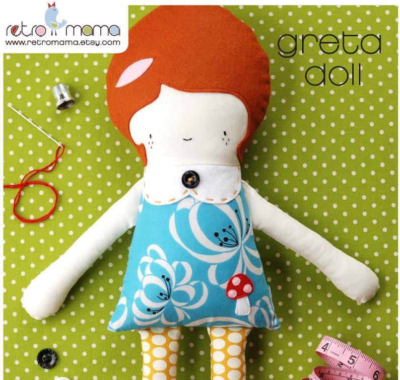 Doll Pattern  Greta Doll PDF Sewing Pattern  Girl Doll image 0