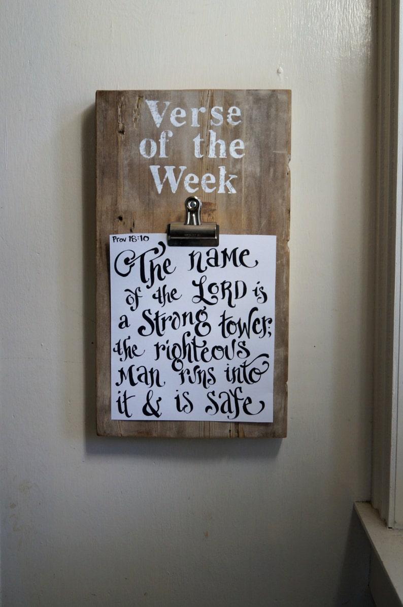 Verse of the Week Clip Board  Vintage Reclaimed Wood  image 0