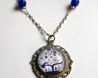 Vintage necklace, peacock blue CV002A