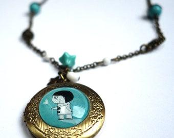 Secret necklace, Pierrot blue