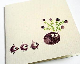 Card, reindeer blossoms C013