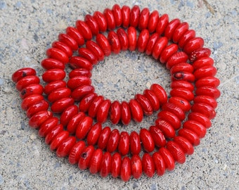 """Beautiful Red Bamboo Coral Rondelle Disc Heishi Beads ~ 10mm ~ 16"""" strand"""
