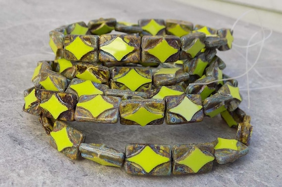 24 Czech Glass Rectangle Beads Chartreuse Picasso