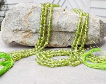 """4mm Round Natural Green Peridot Gemstone ~ 14"""" strand"""
