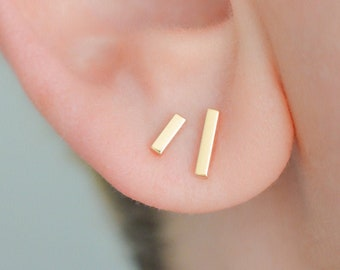 Gold line earrings, solid gold bar stud earrings, dainty earrings, gold minimalist earrings, gift for her