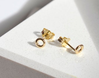 Solid 14K yellow gold minimalist dainty circle stud earrings for women or men, gift for her