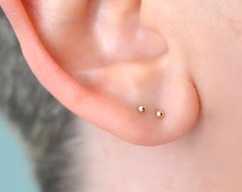 Gold dot stud earrings, gold ball earrings, 14k yellow gold earrings, tiny stud earrings, dainty earrings, gift for her, best selling items