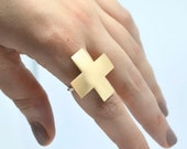 Ring, statement ring, cross ring, brass ring, gift for her, Valentines Day gift