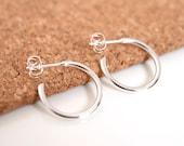 Silver dangle hoop earrings, modern sleeper open hoop earrings, gift for her, mens earrings