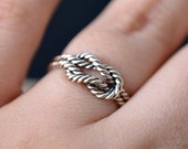 Silver knot ring, engagement ring, knot ring for her, friendship knot ring, rock climbing ring