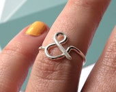 Monogram ring, ampersand ring, silver ring, sterling silver ring, bridesmaid gift, gift for her, birthday gift
