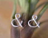 Monogram ampersand silver stud earrings, gift for her, dainty stud earrings, gift for bridesmaid, gift for teacher