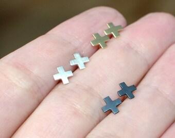 Tiny stud earrings in sterling silver or brass nickel free studs minimalist cross stud earrings dainty cross earrings multiple piercings
