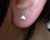 Silver stud earrings, triangle earrings, geometric earrings, dainty stud earrings, gift for her