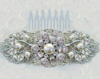 Wedding Hair Clip, Pearl Hair Piece, Crystal head piece, silver brooch comb, rhinestone barrette, Ivory Pearl, Bridal Hair comb, Tea Rose