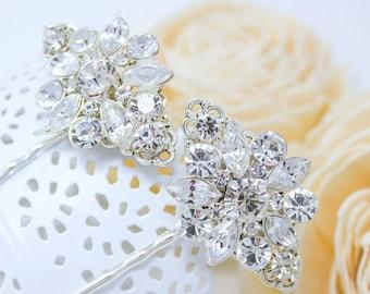 2 Vintage Style, Bridal hair clips, wedding hair pins, crystal silver, bridal bobby pins, bridesmaids hair pin, wedding bobby pins