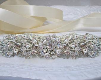 Bridal headband, wedding hairpiece, Crystal Headpiece,  Hair accessory, silver leaves, Rhinestone headband, bridal tiara, large hair vine